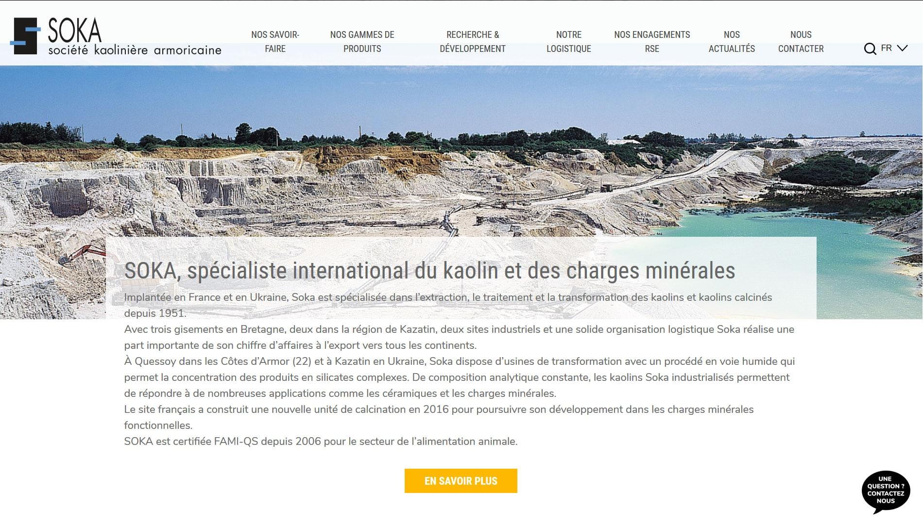 création des pages du site internet Soka spécialisée dans le kaolin en Bretagne