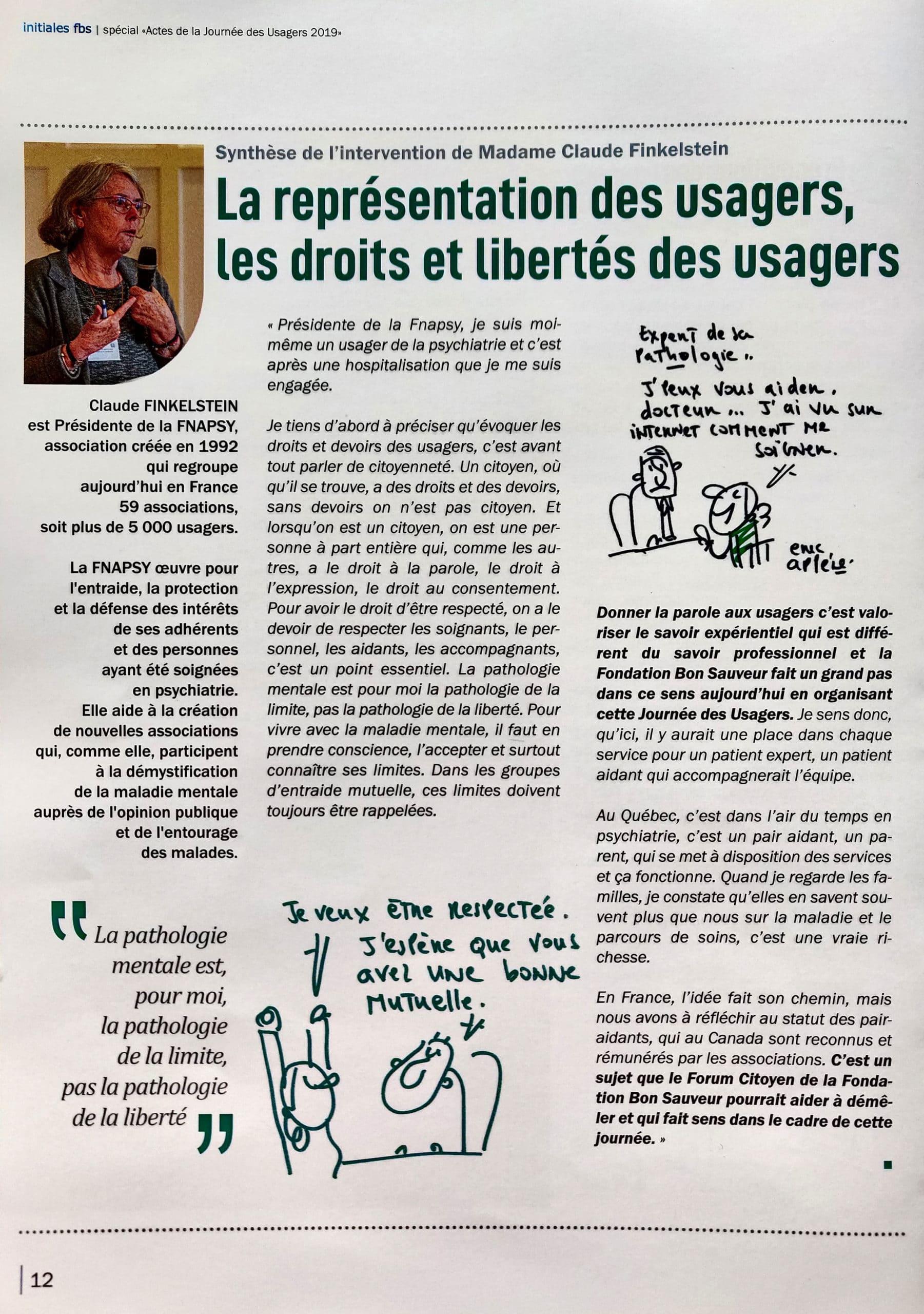 page d'une synthèse des Conférences de la Journée des Usagers Fondation Saint Sauveur