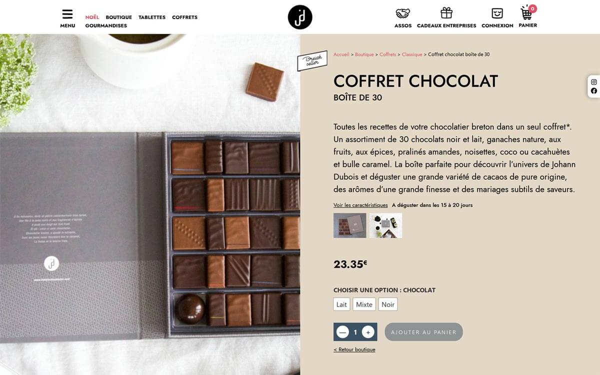 Rédaction du site d'un chocolatier breton