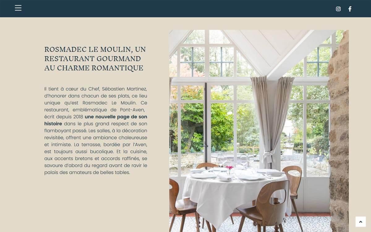 Contenus web pour un grand restaurant